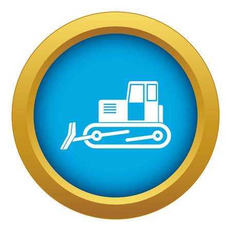 Bulldozer icon blue vector isolated on white background for any design
