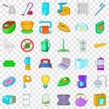 Laptop icons set, cartoon style Illustration