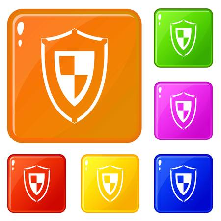 Shield icons set collection vector 6 color isolated on white background