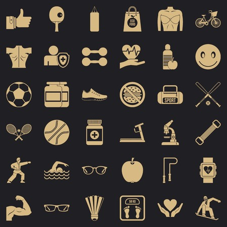 Exercise icons set, simple style
