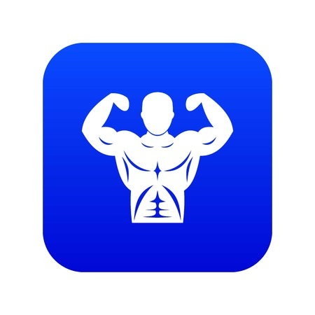 Athletic man torso icon digital blue Illustration