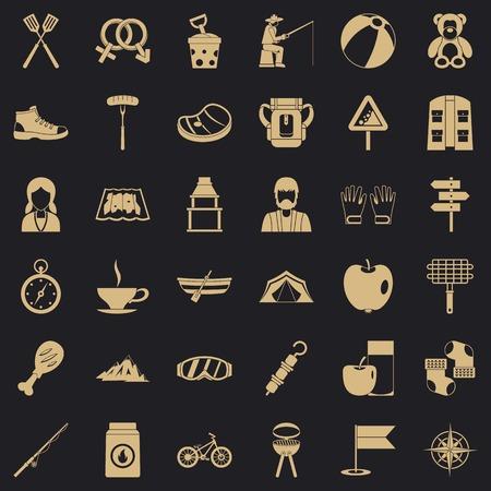 Mountain icons set, simple style