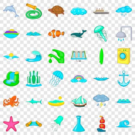Water icons set, cartoon style
