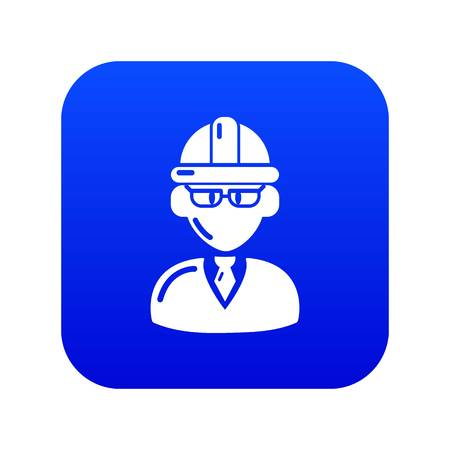 Foreman icon blue vector isolated on white background
