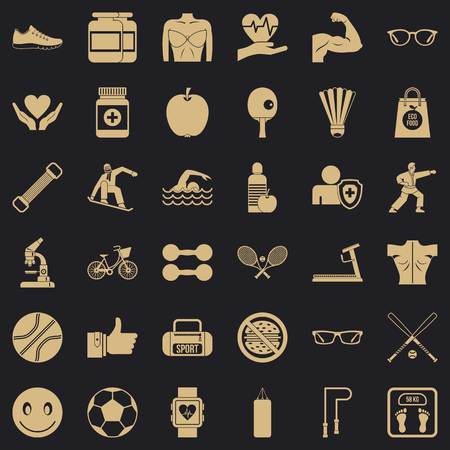 Gymnastics icons set, simple style