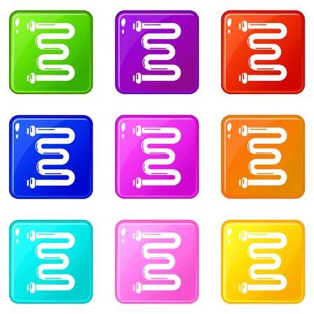 Coil battery icons set 9 color collection Ilustração