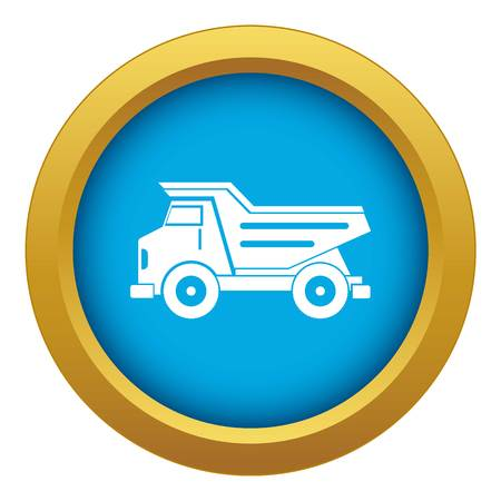 Dump truck icon blue vector isolated on white background for any design