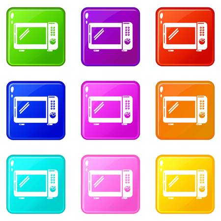 Microwave oven icons set 9 color collection