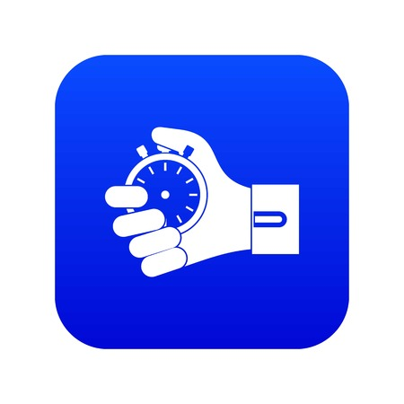 Hand holding stopwatch icon digital blue for any design isolated on white vector illustration