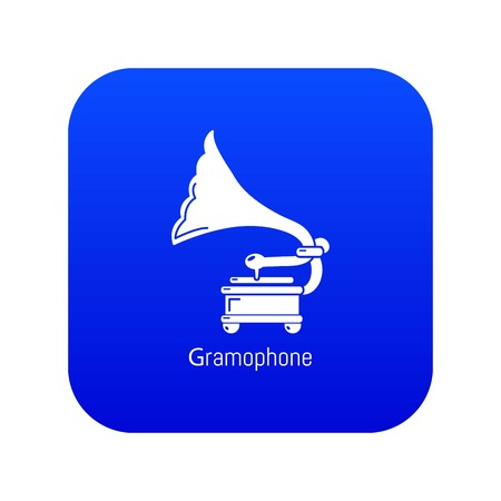 Gramophone icon blue vector isolated on white background Stock Illustratie