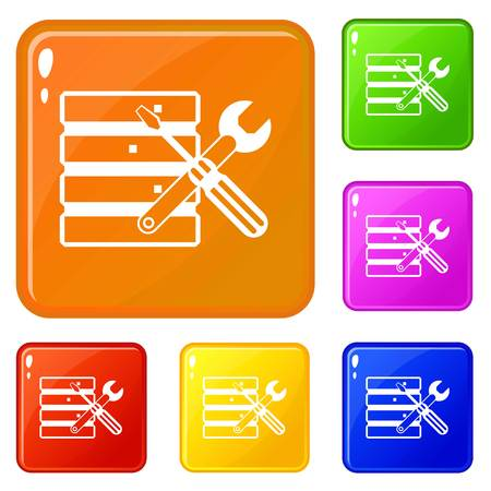 Database with screwdriverl and spanner icons set collection vector 6 color isolated on white background