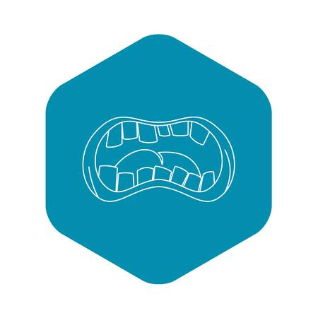 Open mouth with crooked teeth icon. Outline illustration of open mouth with crooked teeth vector icon for web