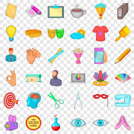 Art workshop icons set, cartoon style  イラスト・ベクター素材
