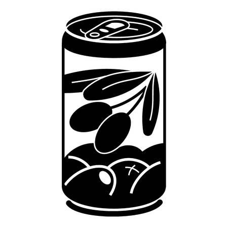 Olive tin can icon, simple style Ilustração