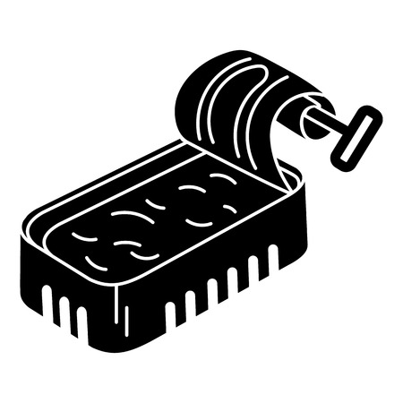Soup fish tin can icon, simple style