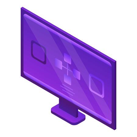 Modern monitor icon, isometric style Çizim