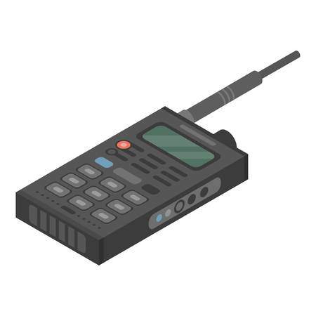 Walkie talkie icon, isometric style