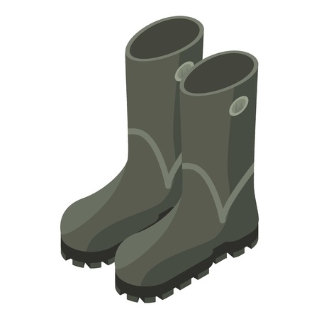 Hunter rubber boots icon. Isometric of hunter rubber boots vector icon for web design isolated on white background Illusztráció