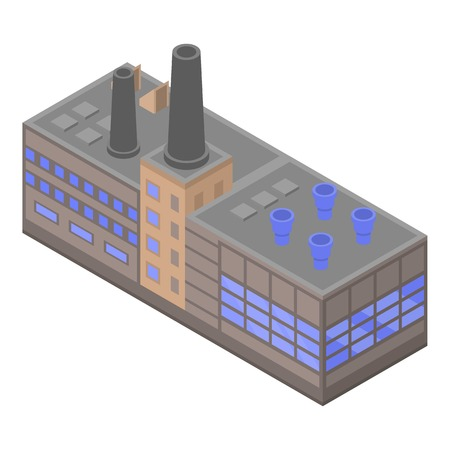 Big refinery factory icon, isometric style Illustration