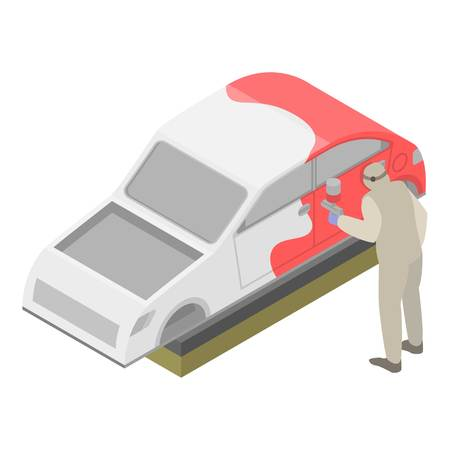 Man painted car icon. Isometric of man painted car vector icon for web design isolated on white background