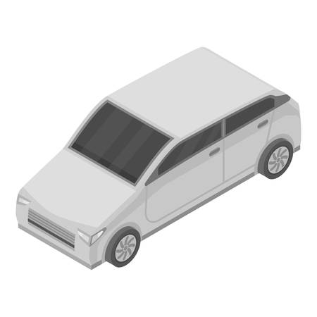 Grey car icon. Isometric of grey car vector icon for web design isolated on white background