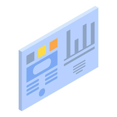 Graph chart card icon, isometric style