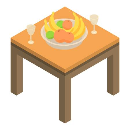 Fruits on table icon, isometric style