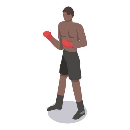 African boxing man icon. Isometric of african boxing man vector icon for web design isolated on white background