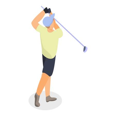 Man shot golf ball icon, isometric style
