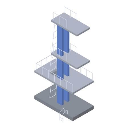 Icono de la torre de buceo de piscina, estilo isométrico