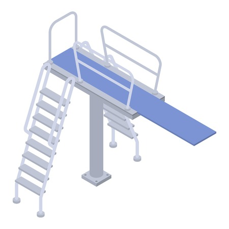Stairs diving pool icon, isometric style