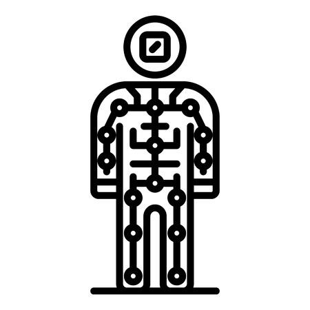 Ai humanoid icon, outline style 向量圖像