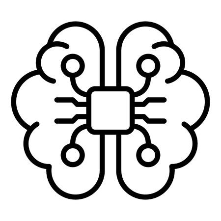 Ai brain icon, outline style