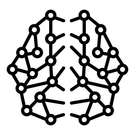 Ai brain network icon. Outline ai brain network vector icon for web design isolated on white background