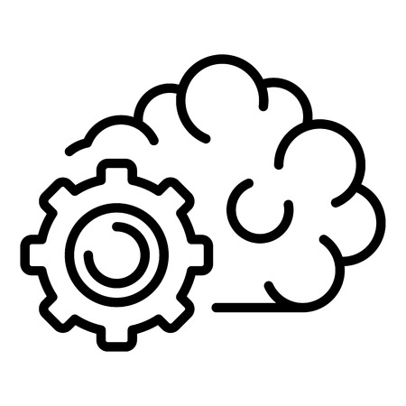Gear ai technology icon, outline style