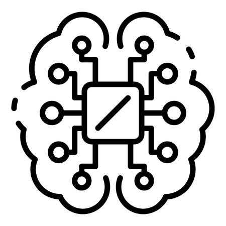 Ai processor brain icon, outline style