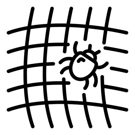 Mite on net icon, outline style