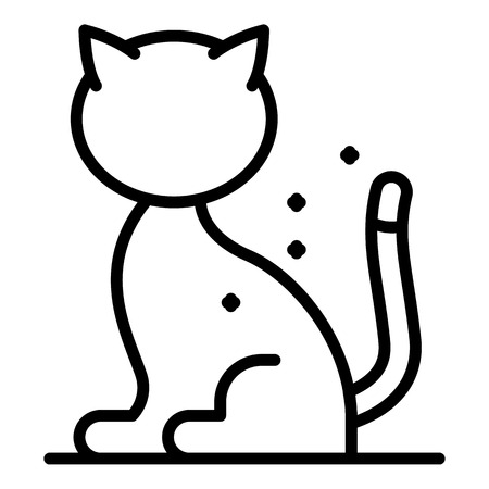Dirty mite cat icon. Outline dirty mite cat vector icon for web design isolated on white background