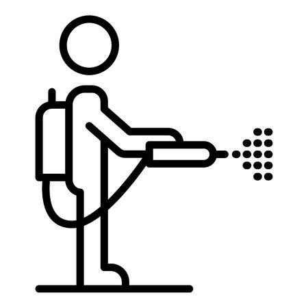 Icono de hombre desinfectante de ácaros. Esquema hombre desinfectante ácaros icono vectoriales para diseño web aislado sobre fondo blanco. Ilustración de vector