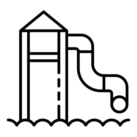 Water tower slide icon, outline style Illustration