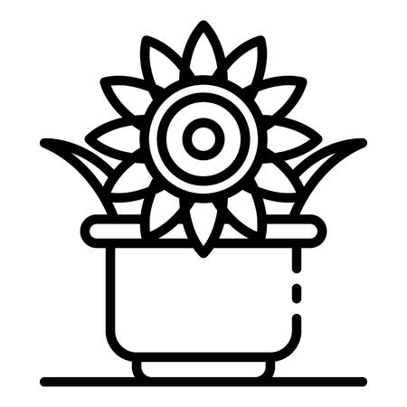 Sunflower plant pot icon. Outline sunflower plant pot vector icon for web design isolated on white background Illustration