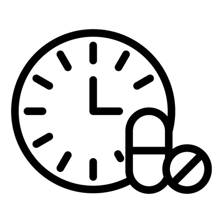 Drug time icon, outline style Stock Illustratie
