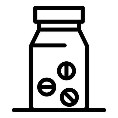 Pill bottle icon, outline style Vektoros illusztráció