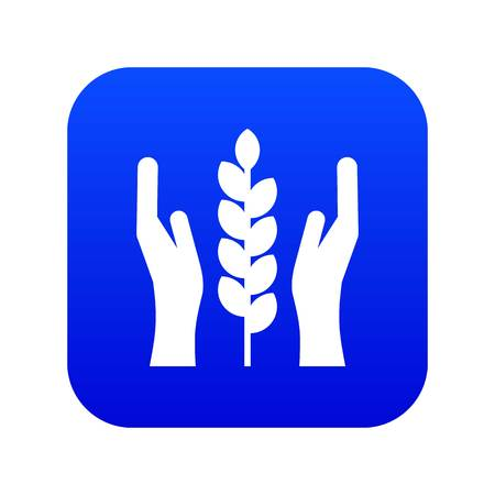 Hands and ear of wheat icon digital blue for any design isolated on white vector illustration