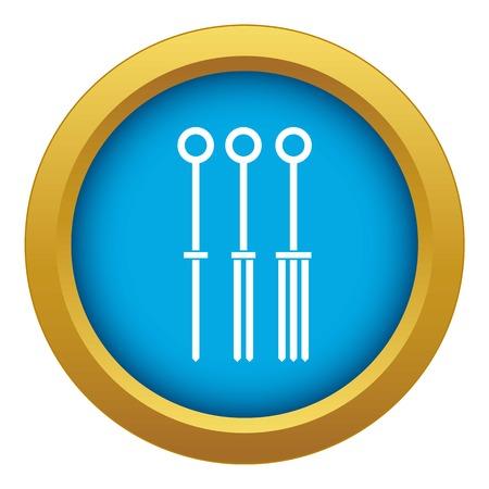 Tattoo needles icon blue vector isolated