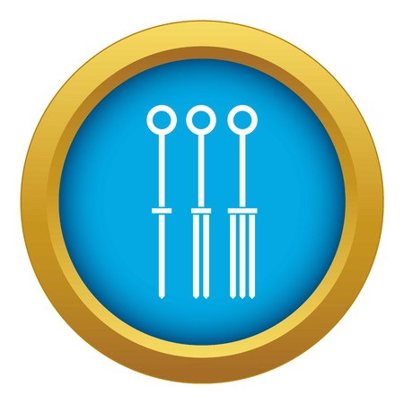 Tattoo needles icon blue vector isolated