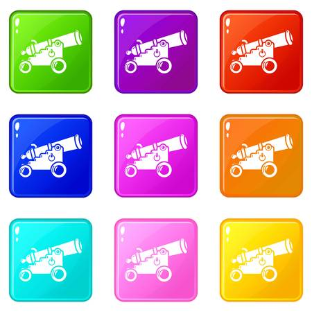 Menacing cannon icons set 9 color collection