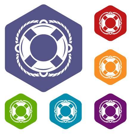 Lifebuoy icons vector hexahedron