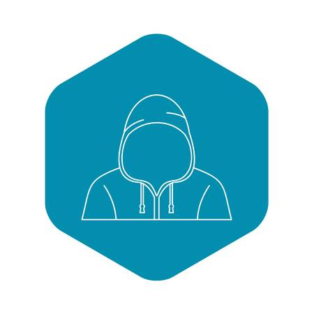 Hooded man icon, outline style