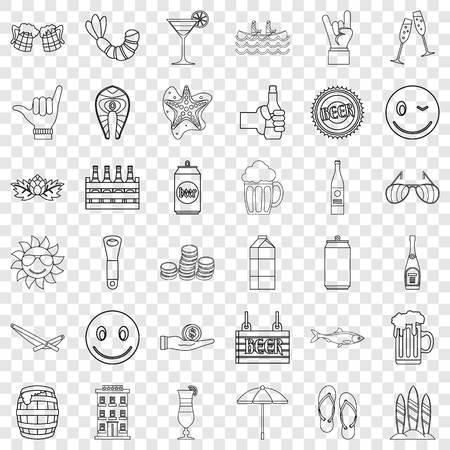 Mug icons set, outline style